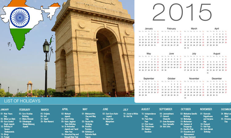Holidays in India in 2015